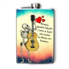 Stainless Steel Flask - 8oz., Day of the Dead Skeleton with Song Lyrics