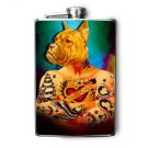 Stainless Steel Flask - 8oz., Tattooed Dog Print