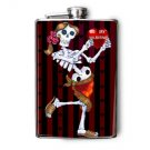 Stainless Steel Flask - 8oz., Day of the Dead Lady with Heart