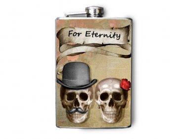 """Stainless Steel Flask - 8oz., Skull Couple """"For Eternity"""" Banner"""