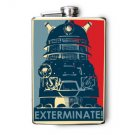 "Stainless Steel Flask - 8oz., Robot with ""Exterminate"" Banner"