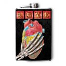 "Stainless Steel Flask - 8oz., Skeleton Hand Holding Heart with ""LOVE"" Tiles"