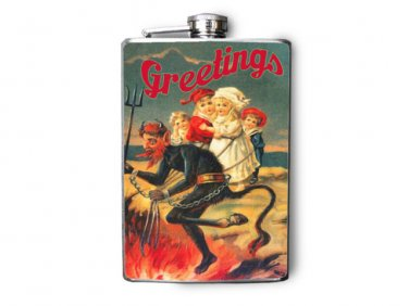 Stainless Steel Flask - 8oz., Krampus Print