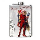 Stainless Steel Flask - 8oz., Krumpus Print on Snowy Background