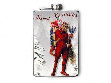 Stainless Steel Flask - 8oz., Krumpus Print on Snowy Background