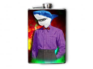 Stainless Steel Flask - 8oz., Shark in Purple Shirt