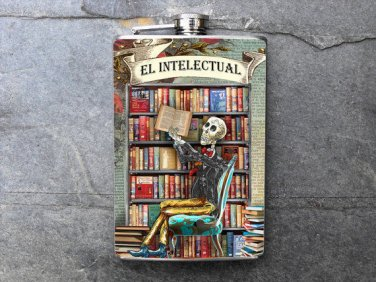 Stainless Steel Flask - 8oz., Dy of the Dead Man in Library