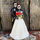 Day of the Dead, Wedding Cake Topper with Red Flowers 6 In