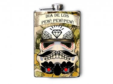 Stainless Steel Flask - 8oz., Day of the Dead Storm Trooper Helmet
