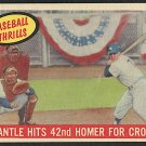 Vintage Baseball Card, Mickey Mantle Baseball Thrills 42nd Homer, 1959 Topps #461