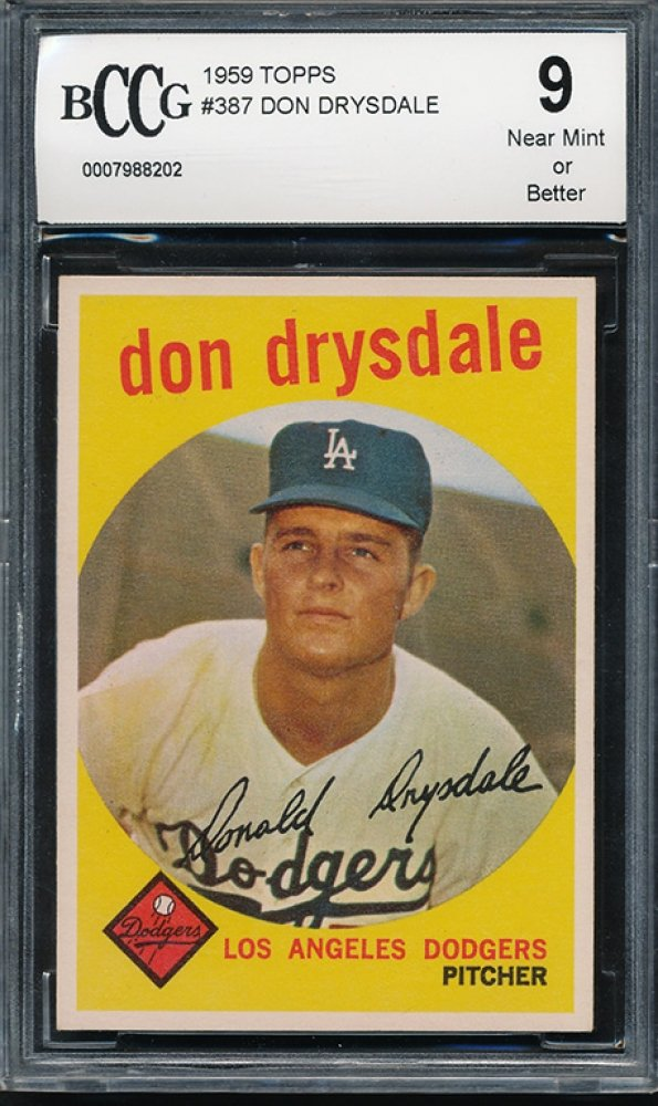 Retro Baseball Card, Don Drysdale, 1959, Topps #387 BCCG 9