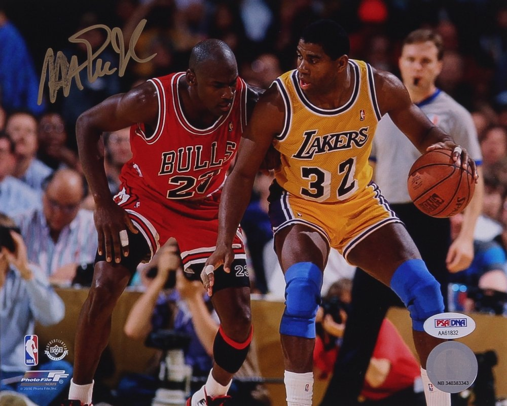 Magic Johnson Signed Photo with Michael Jordan, 8x10