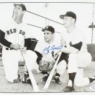 Retro Signed Photo 8x10, Yogi Berra with Ted Williams and Mickey Mantle, Yankees