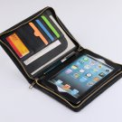 Black Wallet Hand Case with mini iPad for Business Carrying in Full Grain Leather