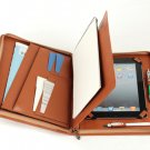 Brown Full grain leather mini iPad Portfolio business Carrying Portfolio Case with Paper Pad holder