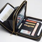 iPad mini 4 Black Leather Carrying Portfolio Purse with Handle Zipper Clutch
