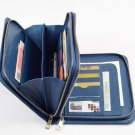 Blue Zipper Wallet Case in full grain leather with iPad mini Carrying with Handle