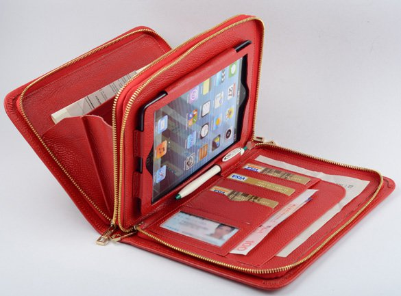 Red Wallet Purse Case for Apple iPad mini Business Carrying Zipper Portfolio Case