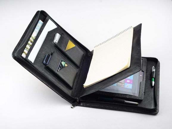 Black Microsoft Surface Pro 4 Leather Case Portfolio Case with Notepad Holder