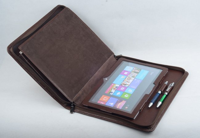 Surface Pro 3 Business Leather Portfolio Case Zipper with Paper Writing Holder Carrying