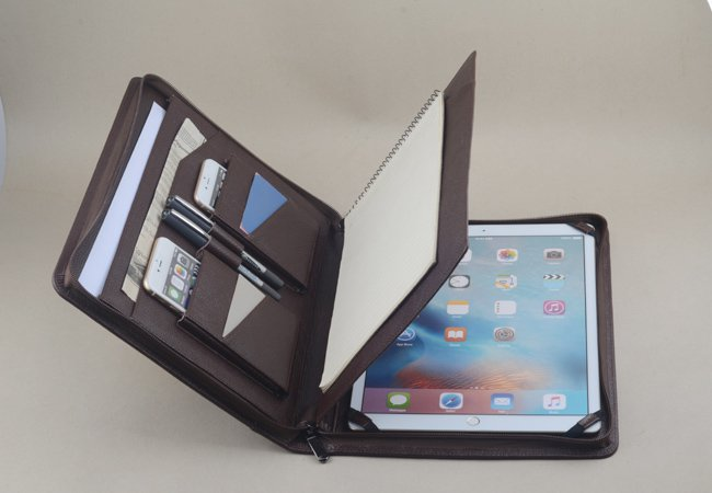 iPad Pro 12.9 Coffee Leather Business Portfolio Case with Paper holder for iPad Pro