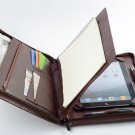 Coffee iPad Pro 10.5 Zipper Leather Portfolio Case with Writing Paper Pad Holder