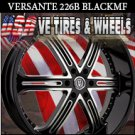 VERSANTE  WHEELS 226 26X10 6.139.7 BLACK MACHINE SILVER TIP  FOR CHEVY TAHOE GMC YUKON