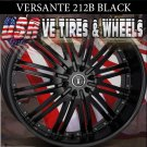 FLAT BLACK RIM VERSANTE 212 22X8 5.114.3 ET+38 FLAT BLK   NISSAN MAXIMA CADILLAC STS