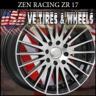 ZEN RACING RIMS ZR15 17X7 4-100/114.3 ET+38 BLK MF ML  WHEELS ACURA LEGEND  HONDA CIVIC