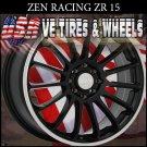 ZEN RACING RIMS ZR15 17X7 4-100/114.3 ET+38 BLK  ML  WHEELS ACURA LEGEND  HONDA CIVIC