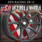 ZEN RACING ZR12 16X7 5.100/114.3 ET+38 FL BLK PSRT  DODGE NEON  HONDA CIVIC JETTA