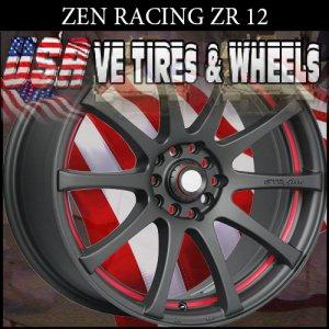 ZEN RACING ZR12 15X6 4-100/114.3 ET+38 FL BLK PSRT   HONDA CIVIC  NISSAN ALTIMA