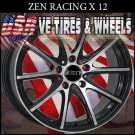 TUNER WHEELS X12 15X6.5  5.100/114.3 ET+38 BLK M/F  HONDA CIVIC  PLYMOUTH BREEZE