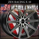 ZEN RACING X10 RIMS 15X6.5 4.100/114.3 ET+38 BLK MF   HONDA CIVIC  CHEVY AVEO