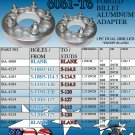 WHEEL SPACERS  BILLET ADAPTERS 5-LUG TO 5-LUG