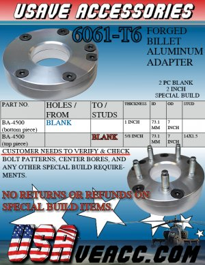 "WHEEL 2 PCS  SPACER 2""THICK CUSTOM SPACER BILLET ADAPTERS"