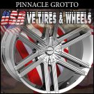 PINNACLE GROTTO 22X8.5  5.114.3/127 ET+40 CHROME RIMS  NISSAN MAXIMA CHEVY MONTE CARLO  JEEP