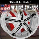 CHROME RIMS PINNACLE HALO 20X8.5 5.108/114.3 ET+40 CHROME BLACK INSERT  FORD TAURUS  CHEVY IMPALA