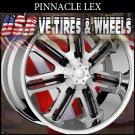 PINNACLE LEX CHROME BLK CLIPS 20X7.5 5.108/115 ET+40 RIMS  CHEVY MALIBU  FORD TAURUS