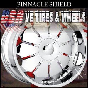 CHROME WHEELS PINNACLE SHIELD 18X7.5 5.100/114.3 ET+40 CHR   DODGE NEON  CHEVY MONTE CARLO JETTA