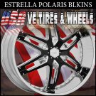 CHROME RIM ESTRELLA POLARIS 26X10 BLANK ET+15 CHR BLK INS  *WILL CUSTOM DRILL TO MOST VEHICLES