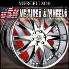 CHROME MERCELI WHEELS M10 20X8.5 5.120 ET+25  CHEVY CAMARO   RANGE ROVER