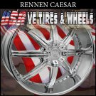 RENNEN CAESAR 26X10 BLANK ET+30 CHROME CUSTOM DRILLING MOST VEHICLES