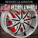 RENNEN GLADIATOR 22X9 BLANK ET+20 CHROME  CUSTOM DRILLING MOST VEHICLES