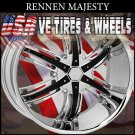 RENNEN MAJESTY 26X10 BLANK ET+10 CHROME BLACK INSERT  CUSTOM BOLT PATTERN