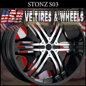 STONE S3 22X8.5 5X110/115 ET+35 BLACK MACHINE FINISH  PONTIAC G6 CHEVY IMPALA