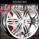 STONE S3 22X9.5 5.115/127 ET+18 CHROME WHEELS   DODGE CHARGER CHRYSLER 300C