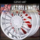 GINO487 24X10 BLANK ET+15 CHROME  CUSTOM DRILL FOR MOST VEHICLES