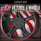 GINO493 22X9.5 5.115/120 ET+18 BLK RED LIP  DODGE CHARGER  BUICK REGAL