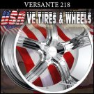 "VERSANTE 218 22"" CHROME WHEELS  & TIRES FORD MUSTANG NISSAN MAXIMA LEXUS SC"